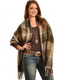 Quagga Brown Plaid Button-Up Wrap