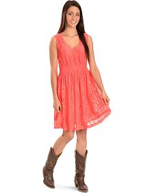 Wrangler Women's Coral V-Neck Lace Dress