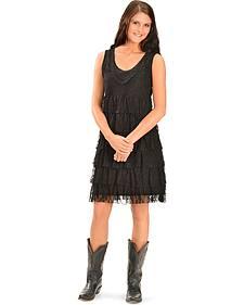 Wrangler Women's Black Crochet & Tiered Lace Dress