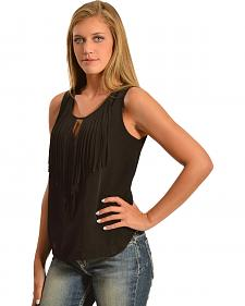 Cowgirl Justice Women's Sleeveless Keyhole Fringe Top