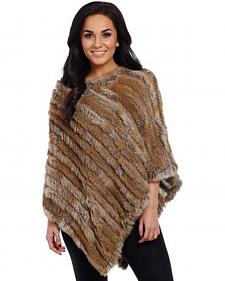 Cripple Creek Women's Rabbit Fur Poncho