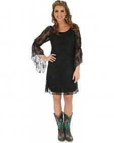 Wrangler Rock 47 Women's Black Lace Bell Sleeve Dress
