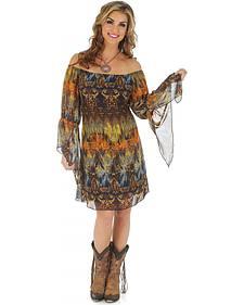Wrangler Rock 47 Women's Gathered Ruffle Sleeves Dress