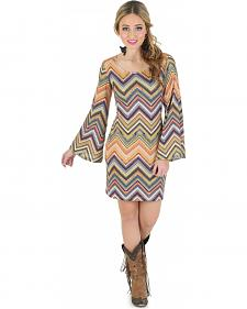 Wrangler Rock 47 Women's Chevron Print Sweater Knit Dress