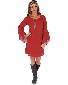 Wrangler Women's Bell Sleeve Crochet Trim Dress