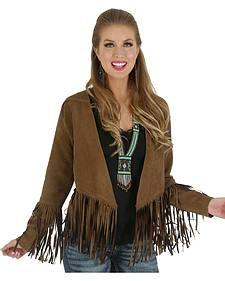 Wrangler Women's Suede Fringe Sleeve Jacket