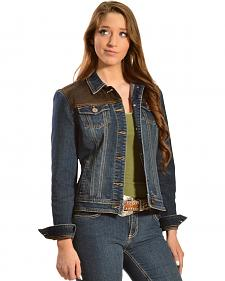 Red Ranch Women's Denim Jacket with Faux Brown Leather Yoke