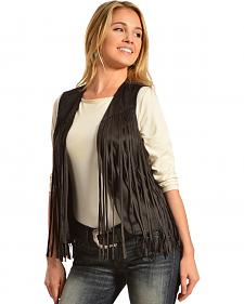 R Cinco Ranch Women's Black Fringe Faux Suede Vest