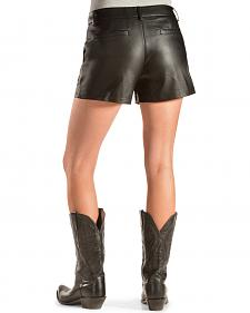 Cowgirl Justice Women's Black Faux Leather Shorts