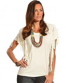 Cowgirl Justice Women's Cream Fringe Top