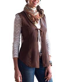 Ryan Michael Women's Ella Tie-Front Reversible Leather Vest