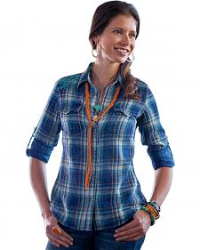 Ryan Michael Women's Anna Embroidered Plaid Shirt