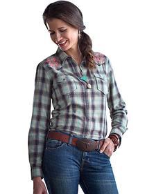 Ryan Michael Women's Ombre Dobby Plaid Shirt