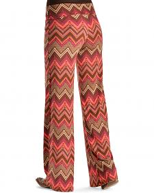 Wrangler Rock 47 Women's Pink & Brown Chevron Palazzo Pants