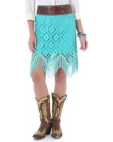 Wrangler Turquoise Crochet Fringe Western Skirt