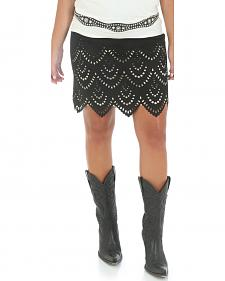 Wrangler Short Faux Suede Laser Cut Skirt
