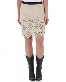Wrangler Women's Short Faux Suede Laser Cut Skirt