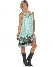 Wrangler Laser-Cut Trapeze Print Dress