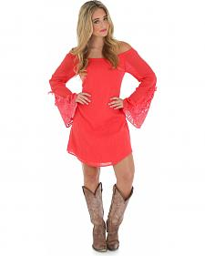 Wrangler Coral Trumpet Sleeve Crochet Dress