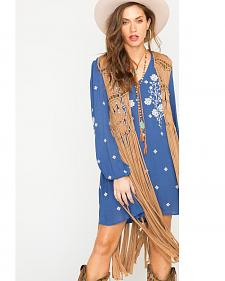Scully Honey Creek Macrame Knotted Fringe and Bead Vest