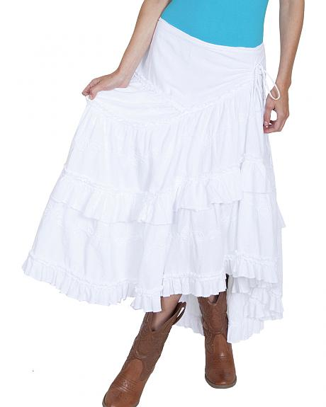 Scully Cantina Collection Peruvian Cotton Ruffle Edge Skirt