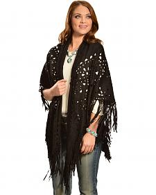 Cowgirl Justice Women's Black Faux Suede Fringe Wrap