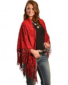 Cowgirl Justice Women's Red Faux Suede Fringe Wrap