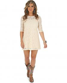 Wrangler Women's Cream Crocheted Dress