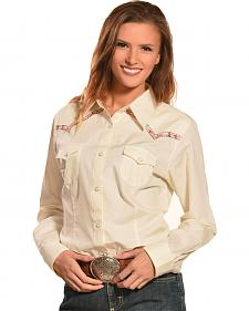 Wrangler Women's Natural Premium Patch Fashion Western Shirt