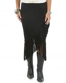 Wrangler Rock 47 Women's Black Skirt with Fringe at Envelope Hem