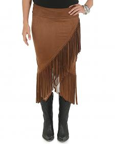 Wrangler Rock 47 Women's Brown Skirt with Fringe Envelope Hem