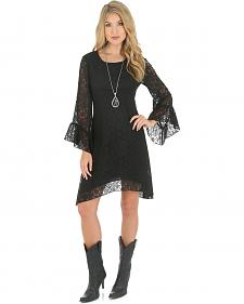 Wrangler Rock 47 Women's Peasant Lace Dress with Flutter Sleeves