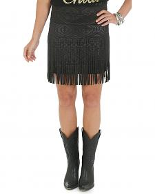 Wrangler Rock 47 Women's Aztec Pattern Mini Skirt with Fringe