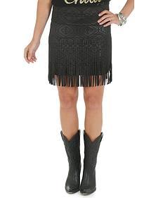 Wrangler Rock 47 Women's Aztec Pattern Mini Skirt with Fringe