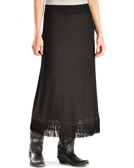 Red Ranch Women's Black Fringe Maxi Skirt