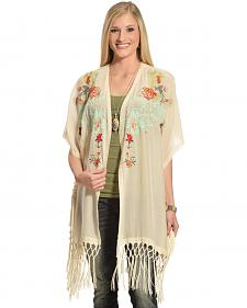 Johnny Was Women's Pearl Argent Fringe Kimono