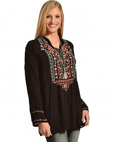 Johnny Was Women's Embroidered Black Catra Tunic