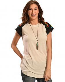 Boho Jane Women's Ocean Black Baseball T-Shirt