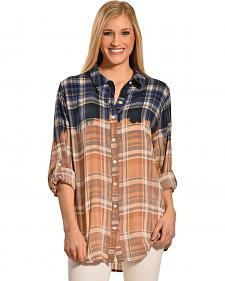 Boho Jane Women's Woodstock Ombre Plaid Shirt