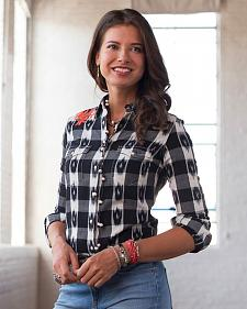 Ryan Michael Women's Ikat Gingham Shirt