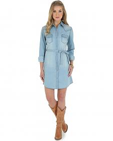 Wrangler Long Sleeve Stonewash Denim Shirt Dress