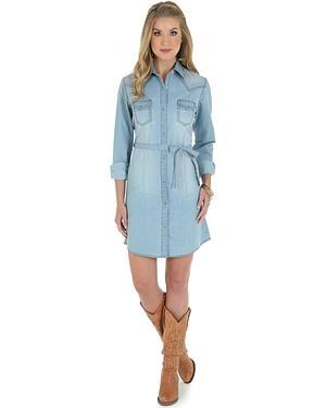 Wrangler Long Sleeve Stonewash Denim Shirt Dress