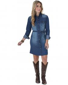 Wrangler Long Sleeve Dark Denim Shirt Dress