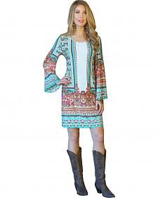 Wrangler Rock 47 Women's Turquoise Print Shift Dress