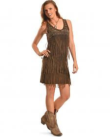 Wrangler Women's Saloon Studded Fringe Dress