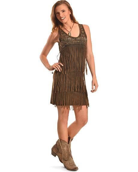 Wrangler Women's Saloon Studded Fringe Dress