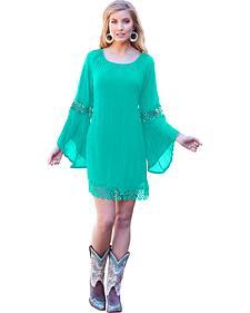 Wrangler Women's Turquoise Crochet Mini Dress