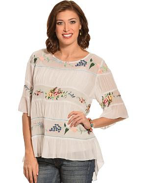 Pink Cattleac Ivory Embroidered Bohemian Top