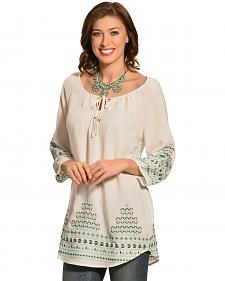 Pink Cattlelac Embroidered Tunic Top