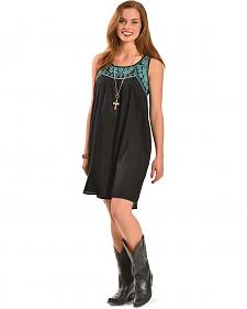 Pink Cattlelac Women's Black & Turquoise Tribal Embroidery Dress